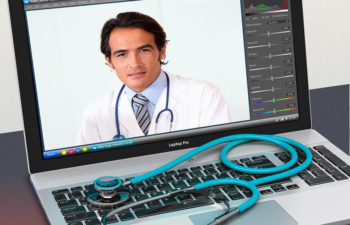 Stethoscope and laptop with graphic program enabled