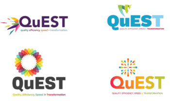 "Different versions of the logo ""Quest"""