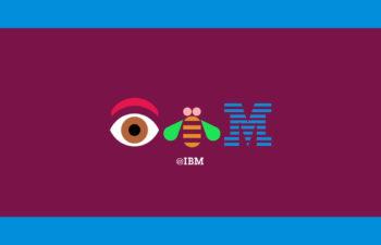 variation of IBM company logo with eye and bee new york, ny